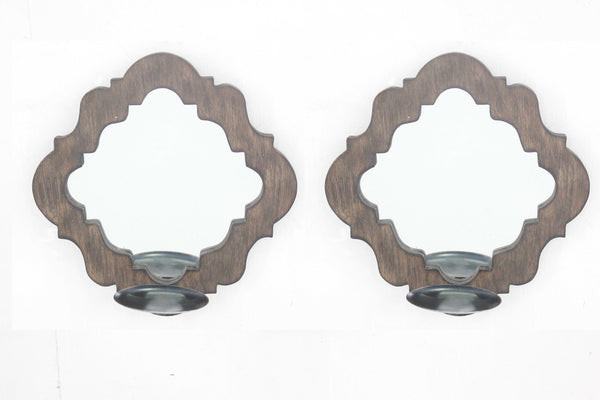 Rustic Decorative Mirrored Candle Holder Sconce Set