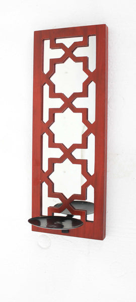 Traditional Mirrored Red Candle Holder Sconce