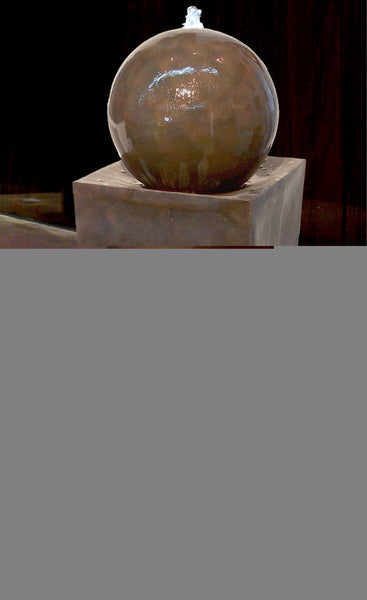 "Coppery Finish Square Tall Vase W/Ball Fountain 45"" x 14"""