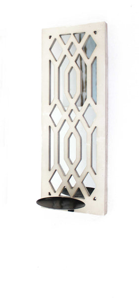 Traditional Mirrored White Candle Holder Sconce