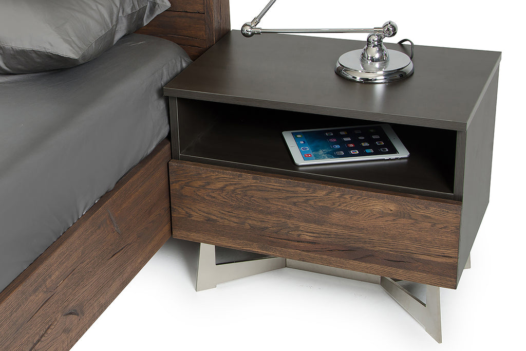 Modern Dark Aged Oak Nightstand