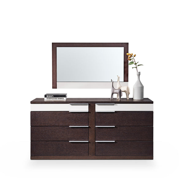 Modern Brown Oak & Grey Dresser