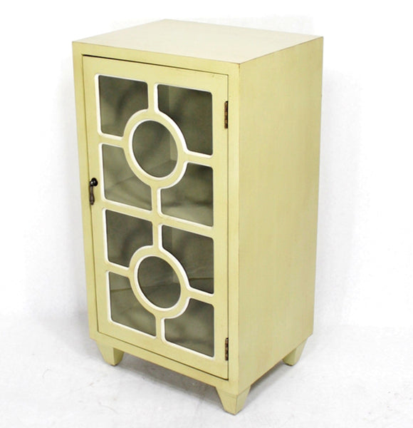 1-Door Accent Cabinet w/ Lattice Glass Inserts - MDF, Wood Clear Glass