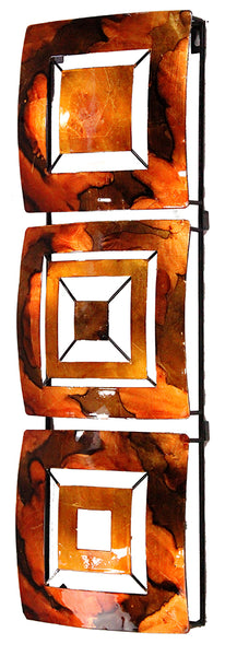 Vertical 3-Panel Metal Wall Decor - Copper, Brown and Orange Lacquered