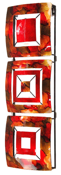 Vertical 3-Panel Metal Wall Decor - Copper, Red and Gold Lacquered