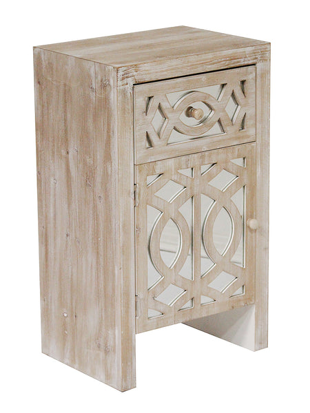 1-Drawer, 1-Door Accent Cabinet w/ Carved Trellis Front and Mirror Accents - MDF, Wood Mirrored Glass