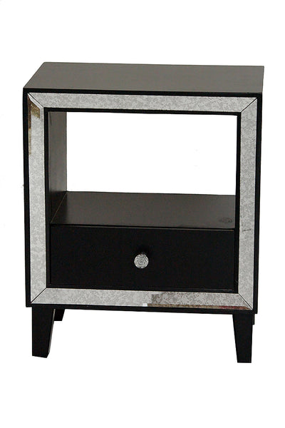 1-Drawer Accent Cabinet w/ Antiqued Mirror Accents - MDF, Wood Mirrored Glass