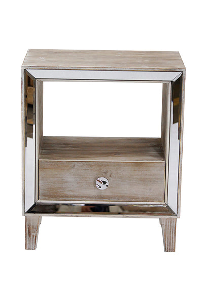 1-Drawer Accent Cabinet w/ Mirror Accents - MDF, Wood Mirrored Glass