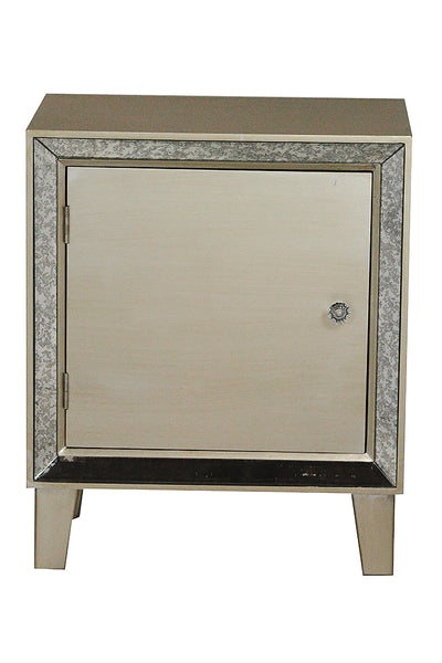 1-Door Accent Cabinet w/ Antiqued Mirror Accents - MDF, Wood Mirrored Glass
