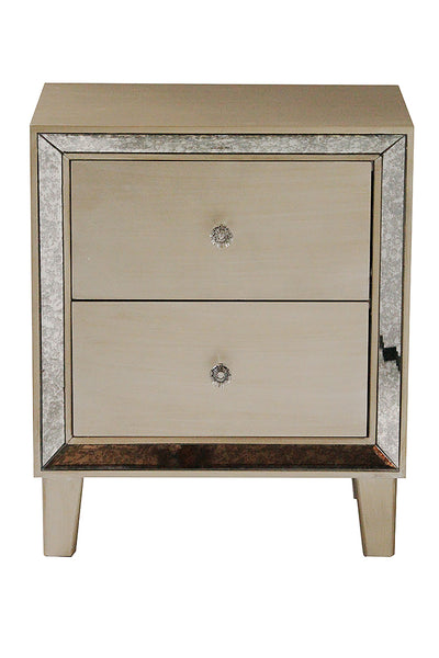 2-Drawer End Table w/ Antiqued Mirror Accents - MDF, Wood Mirrored Glass