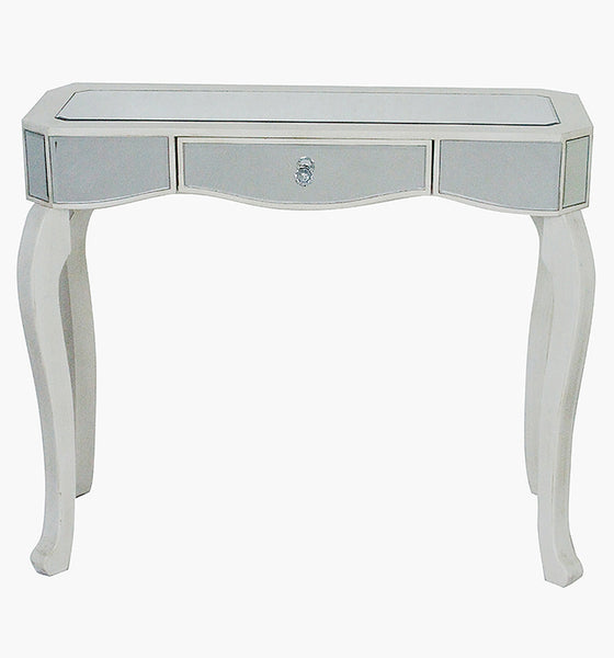 1-Drawer Mirrored Console Table - MDF, Wood Mirrored Glass