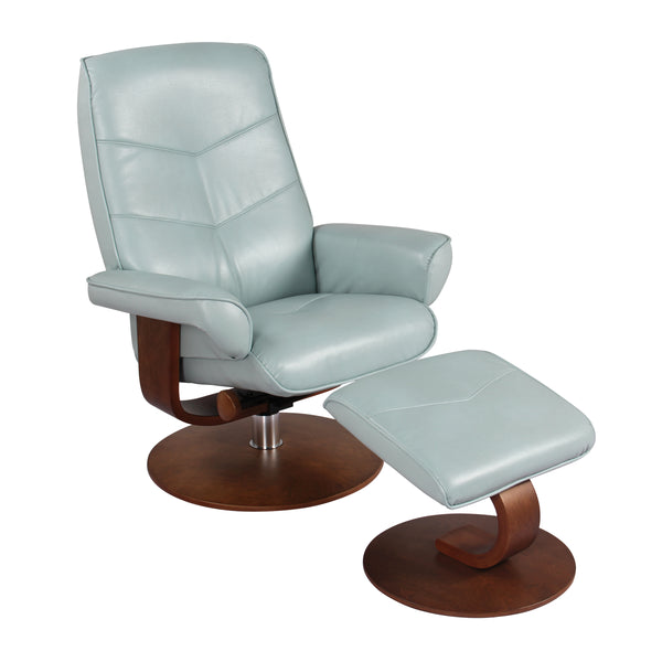 Recliner Chair & Ottoman - Pastel Blue