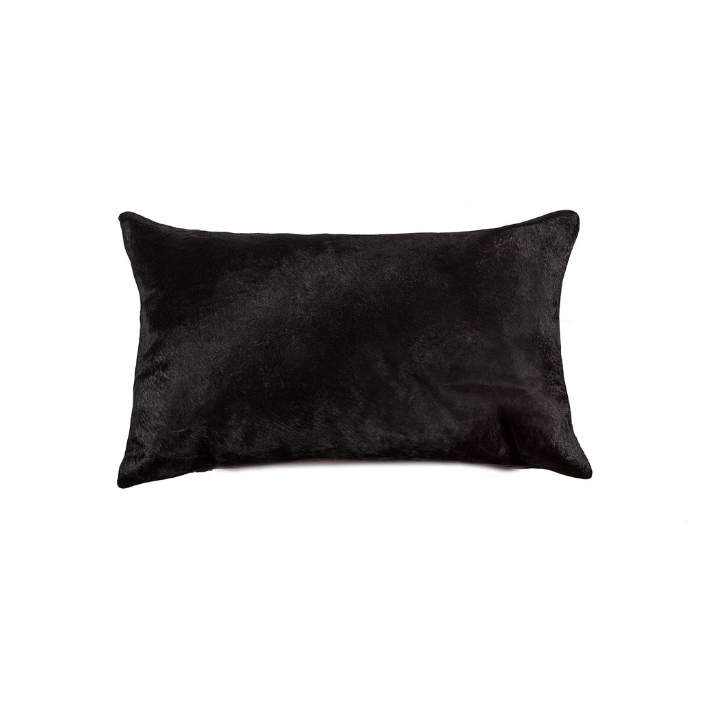 "Torino Cowhide Pillow 12"" X 20"" - Black"