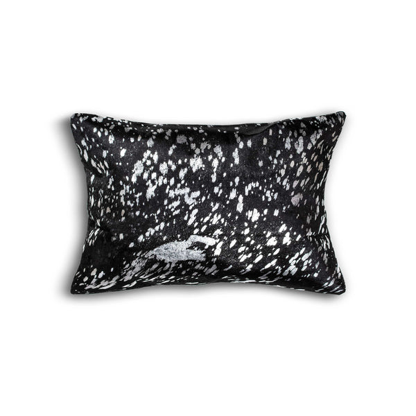 Cowhide Pillow 12X20 - Black & Silver