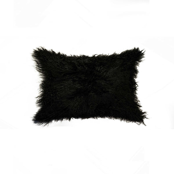 "Sheepskin Pillow 12"" X 20"" - Black"