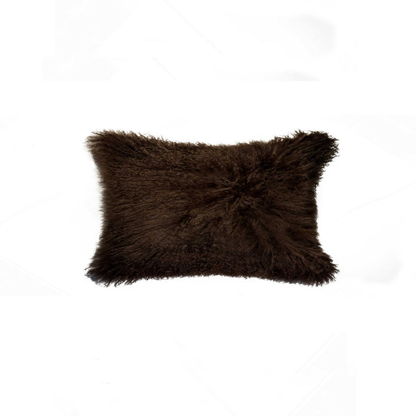 "Sheepskin Pillow 12"" X 20"" - Chocolate"
