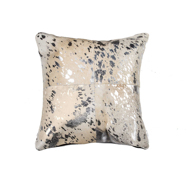 Cowhide Pillow 18X18 Silver & Gray