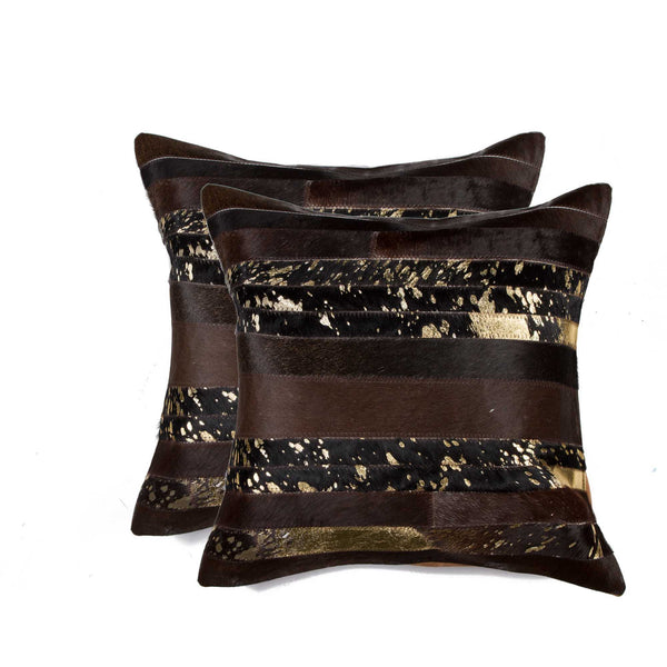 Cowhide Pillow 18X18 - Gold & Chocolate (2 Pack)