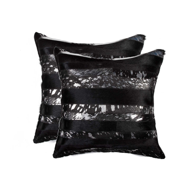 Cowhide Pillow 18X18 - Silver & Black (2 Pack)