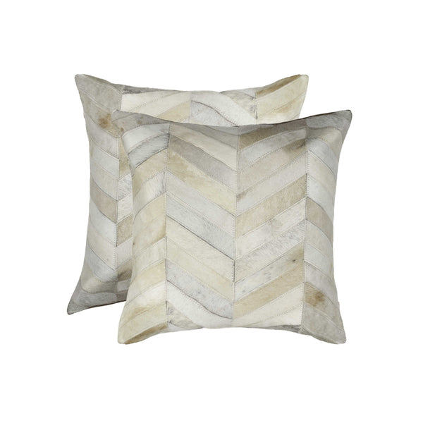 Cowhide Pillow 18X18 Natural 2-Pack