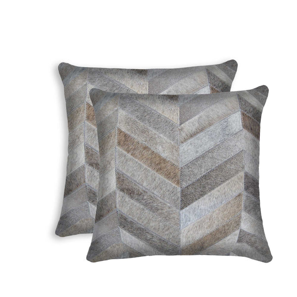 Cowhide Pillow 18X18 Gray 2-Pack