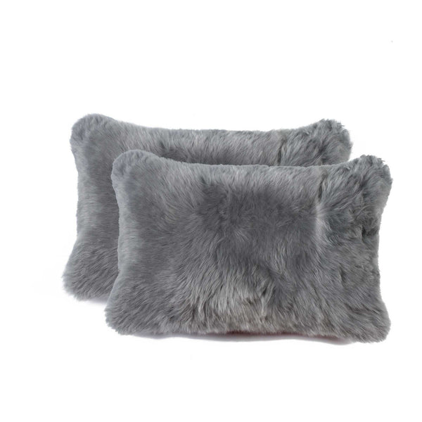 Sheepskin Pillow 12X20 Gray 2-Pack