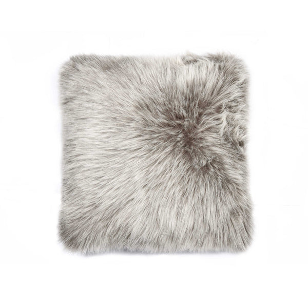 "Belton Faux Fur Pillow 18"" X 18"" - Grey"