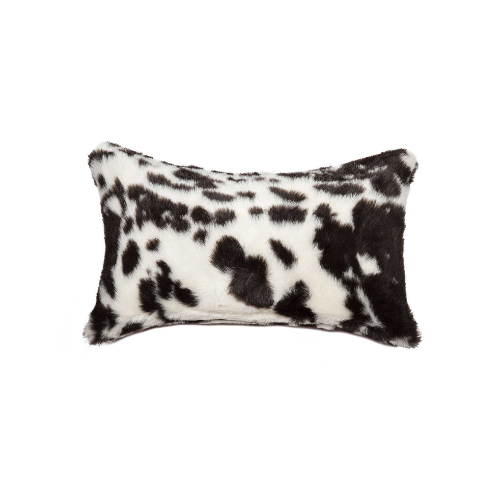 "Belton Faux Fur Pillow 12"" X 20"" - Brownsville Chocolate & White"