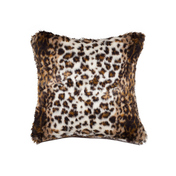 "Belton Faux Fur Pillow 18"" X 18"" - Georgetown Lynx"