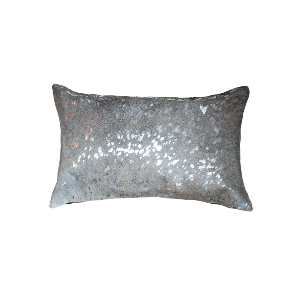 "Torino Scotland Cowhide Pillow 12"" X 20"" - Silver & Grey"