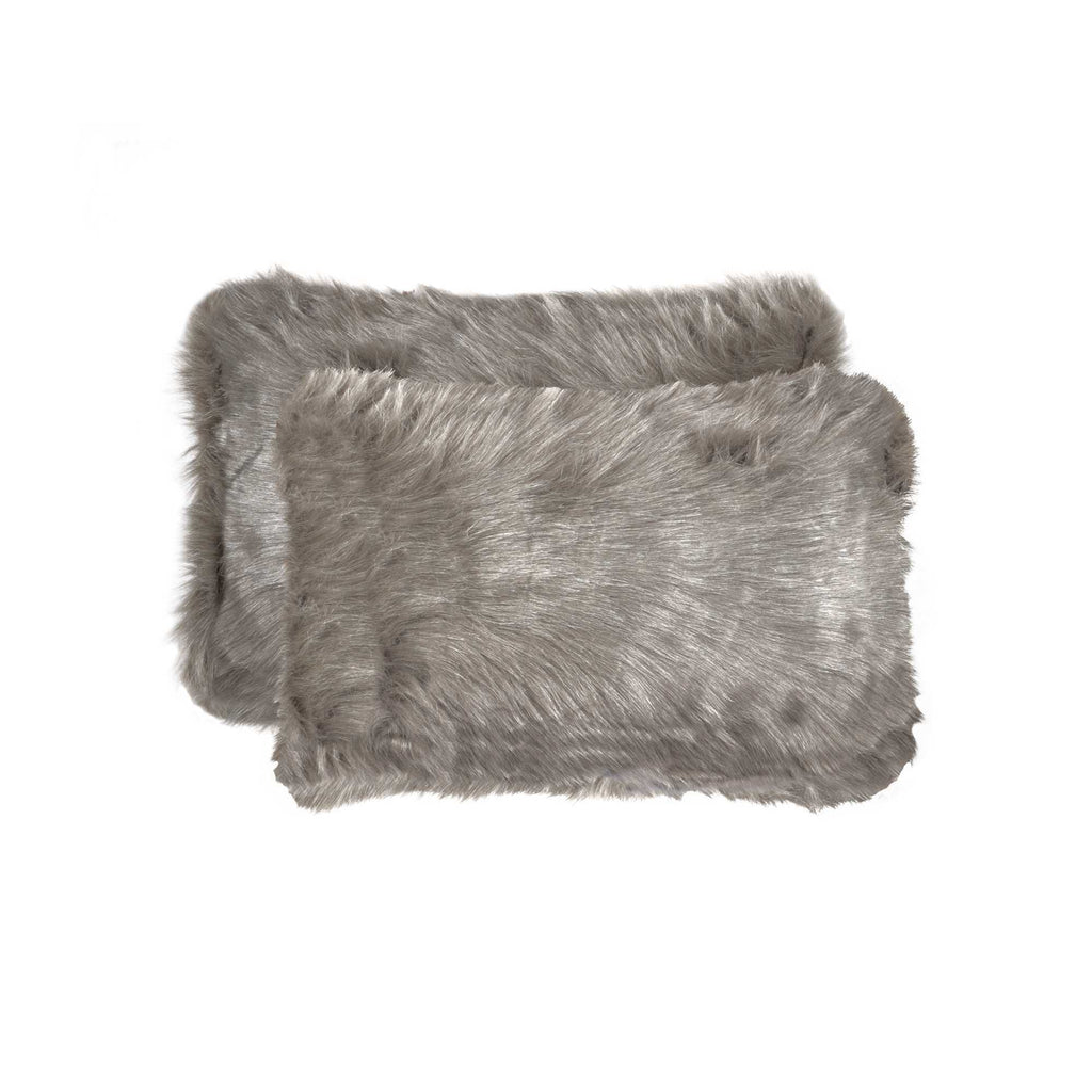 "2 Pack Fur Pillow 12'X20"" Gray"