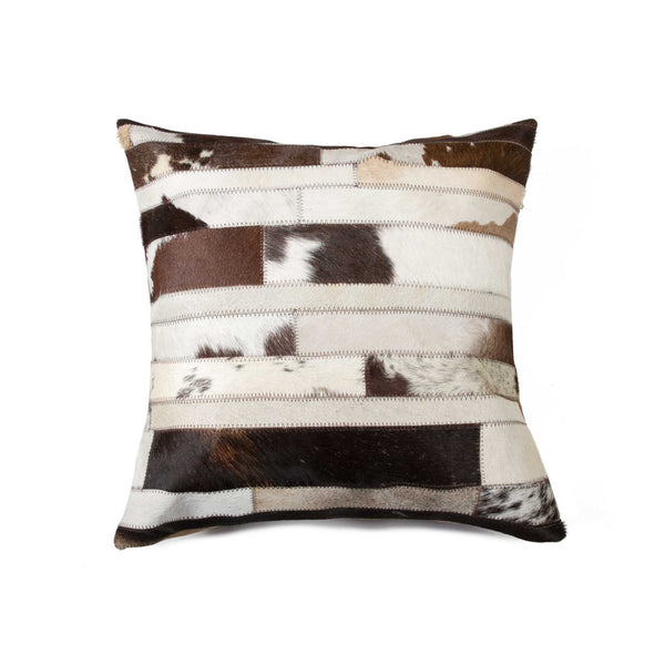 Cowhide Pillow 18X18 - Chocolate & Natural
