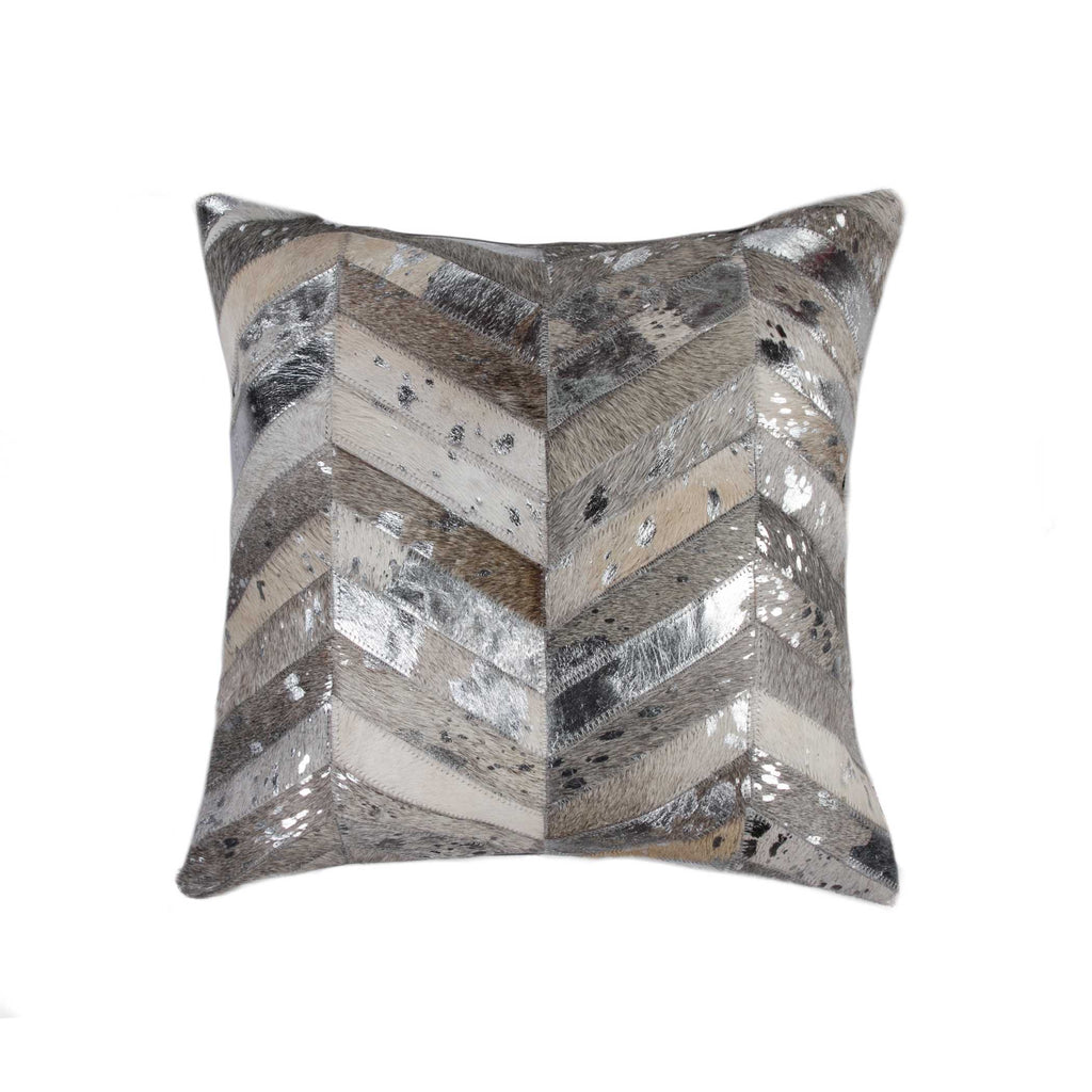 "Pillow 18"" X 18"" - Grey/Silver"
