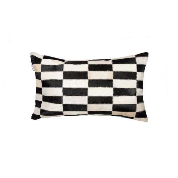 Cowhide Pillow 12X20 - Black & White