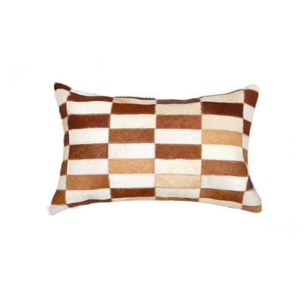 Cowhide Pillow 12X20 -Brown & White