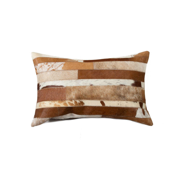 Cowhide Pillow 12X20 - Brown & White