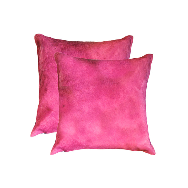 Cowhide Pillow 18X18 Fuschia 2-Pack