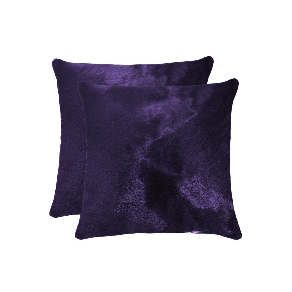 Cowhide Pillow 18X18 Purple 2-Pack