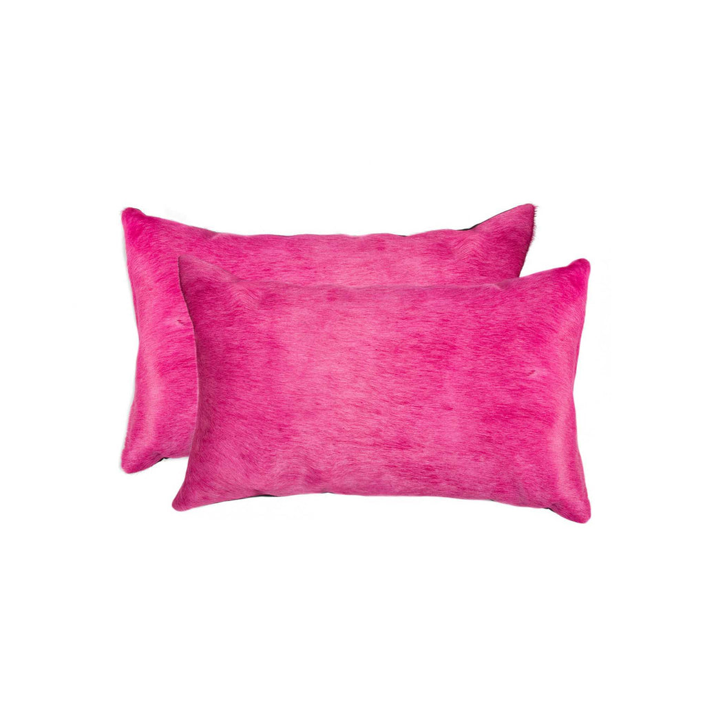 Cowhide Pillow 12X20 Fuschia 2-Pack