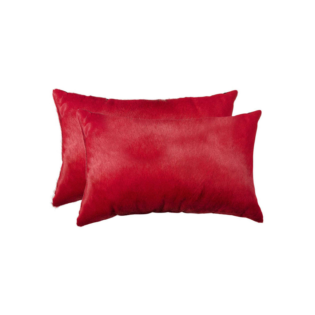 Cowhide Pillow 12X20 Wine 2-Pack
