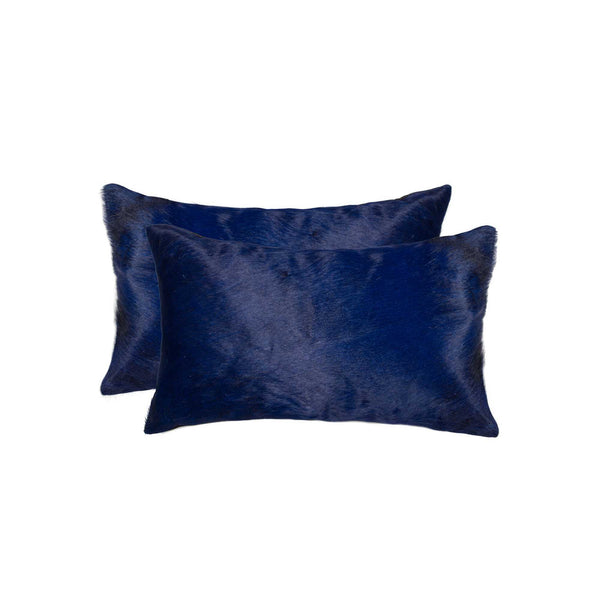 Cowhide Pillow 12X20 Navy 2-Pack