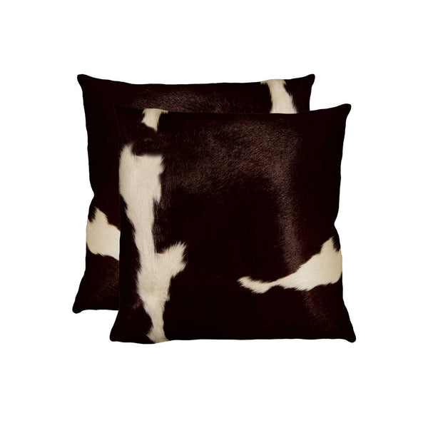 Cowhide Pillow 18X18 Chocolate & White 2-Pack
