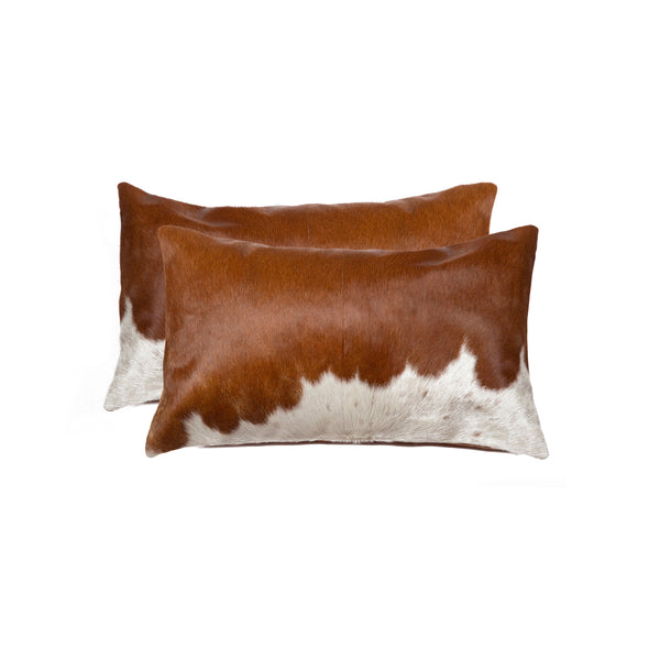 Cowhide Pillow 12X20 Brown & White 2-Pack