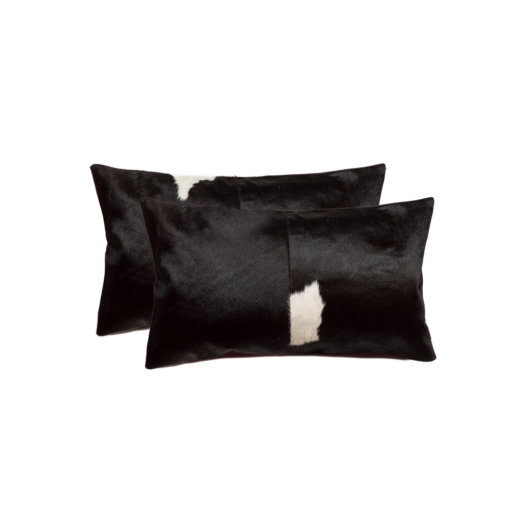 Cowhide Pillow 12X20 Black & White 2-Pack
