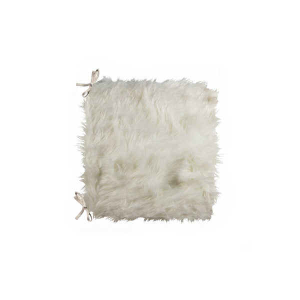 "Sheepskin Fur Chair Pad 16"" X 16"" - Off White"