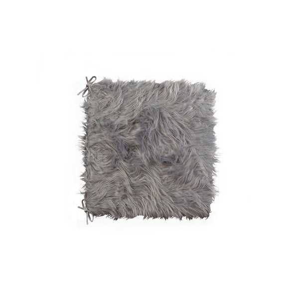 "Sheepskin Fur Chair Pad 16"" X 16 2-Pack - Grey"