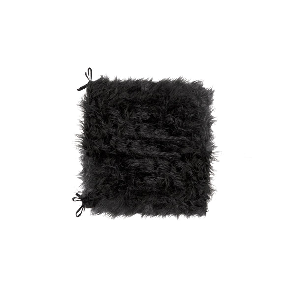 "Sheepskin Fur Chair Pad 16"" X 16 2-Pack - Black"