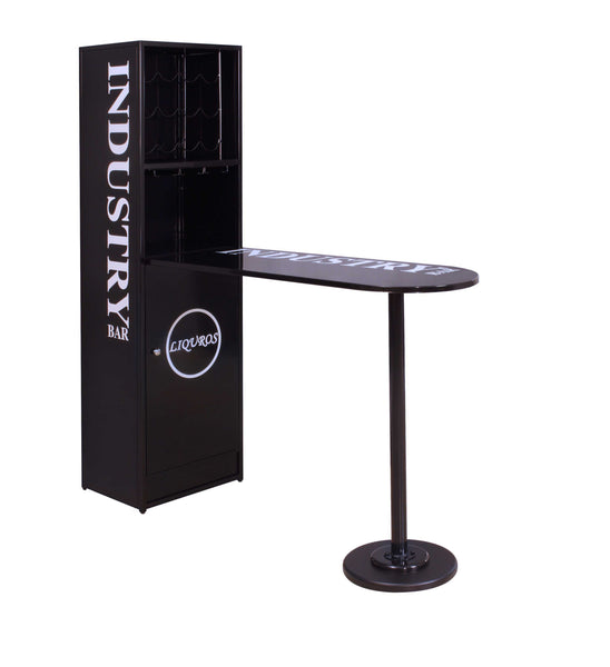 Bar Table with Cabinet in Black - Metal Tube Black