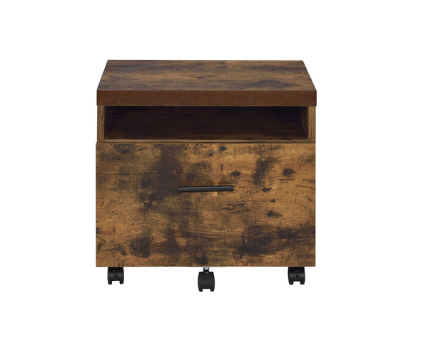 File Cabinet in Weathered Oak - Paper Veneer, Board, Meta Weathered Oak