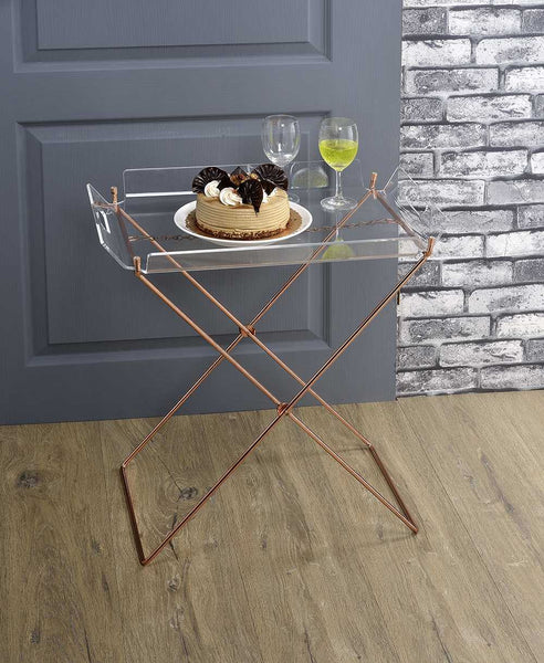 Serving Cart in Clear Glass & Gold - Glass, Mirror, Metal Clear Glass & Gold